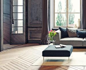 Modern Herringbone Hardwood Floor Design