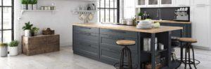 Gray hardwood flooring kitchen